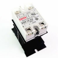 Solid State Relay Module 3-32V DC Input 24-380VAC SSR-10DA With Heat Sink