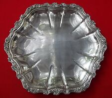 """COUNTESS Pattern Serving Tray Platter By International Deep Silver Plate 11"""" Hex"""