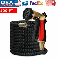 50FT Garden Hose Double Latex Core 3/4 Solid Brass Connector Expanding Water
