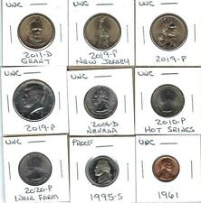 NINE VARIOUS UNCIRCULATED U.S. COINS - NICE MIX OF COINS - ONE PROOF NICKEL