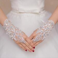Guanti da sposa fiore di cristallo Guanti Fingerless corti Short Costume