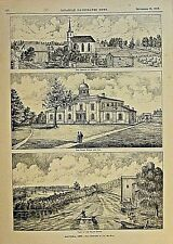 Cayuga, Ontario Canada, Court House, Church Of Scotland Vintage 1876 Antiq Print