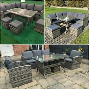 7 & 9 Seat Rattan Outdoor Patio with Stools Garden Corner Sofa Dining Sets