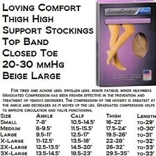 Loving Comfort Firm Compression, Beige, Large Thigh High Stockings
