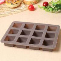 12 Square Cake Chocolate Cookies Silicone Baking Mould Ice Cube Soap Mold Tray L