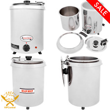 6 Qt Electric Countertop Soup Kettle Warmer Round Stainless Steel 110v 300w New