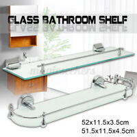 Bathroom Shelf Glass Wall Mount Bath Space Saver Storage Rack Organizer  ☀