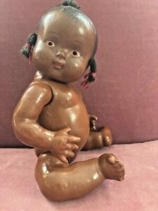 Antique Vintage African American Black Baby Doll Composition Topsy