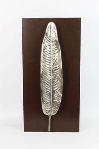 Wandbild Leaf Nickel auf Holzbrett 60,5 cm Skulptur Bild Dekoration silberfarben