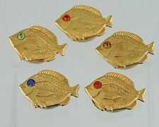 VINTAGE BUTTON COVERS GOLD TONE FISH W/ MULTI COLOR RHINESTONE EYES SET 5