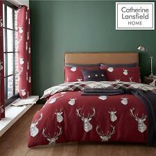 Catherine Lansfield Stag Check Red Duvet Set Reversible Bedding Curtain Sheet