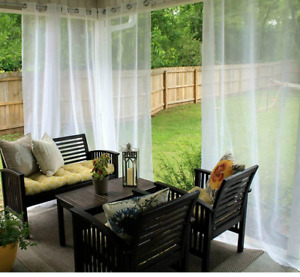 Single Garden Outdoor Sheer Curtains for Porch Exterior Voile With Ring Grommet