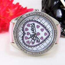 GUESS WOMEN'S WATCH U85141L2 HEART & LOGO QUILTED FACE & PINK LEATHER STRAP NEW