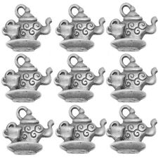 10 Tibetan Silver Teapot and Cup  Pendant Charms Alice In Wonderland