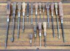 ANTIQUE Tools Wood Handle SCREWDRIVERS  VINTAGE Woodworking Tool Machinist Shop