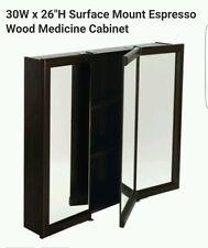 "30W x 26"" Surface Mount Tri-View Wood Mirrored Medicine Cabinet Espresso Finish"