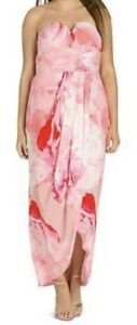 NEW City Chic Pink Girly Rose Drape Maxi Cocktail Dress Floral Size XS 14