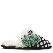 NEW Dearfoams FAIRISLE SCUFF MEMORY FOAM SLIPPER Black & White Size Small (5- 6)