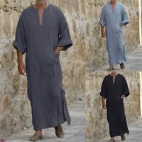 Mens 100%Cotton Long Sleeve Kaftan Beach Dress T Shirt Pajamas Sleepwear Dress