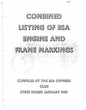 BSA Parts Serial Number Manual Book Reference From 1912 - 1974 Frame and Engine