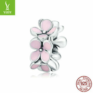 Fashion Women Authentic S925 Sterling Silver Pink flower Bead Charm Fit Bracelet