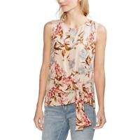 Vince Camuto Womens Front Tie Floral Top Tank Top Shirt BHFO 1621