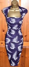 Magnifique Phase Eight Violet Plume Cocktail Wiggle Robe UK 14 Party Occasion