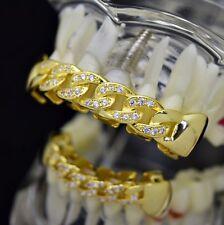 Cuban CZ Grillz Set 14k Gold Plated Cubic Zirconia Top & Bottom Hip Hop Teeth