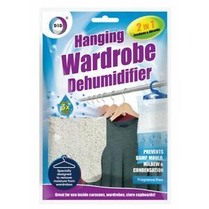 Hanging Wardrobe Dehumidifier Stop Mould Damp Mildew 2in1 Absorb Moisture Fresh