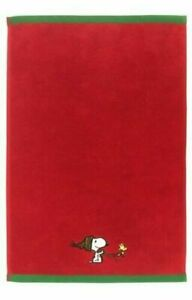"""Peanuts Snoopy Woodstock Christmas Holiday Red Hand Towel 16"""" x 26"""" LOT OF 2 New"""