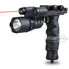 Red Laser Combo Sight Tactical Optics Fore Head Handle Grip Flashlight W Rail