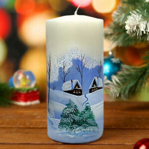 Winter Scene Unscented Holiday Votive Candle, Paraffin Wax Burn Time 50 hrs