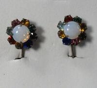 Vintage Screw-Back Earrings - Multi-Color Rhinestones, Faux Opal Center STERLING