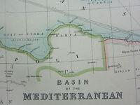 1910 MAP ~ BASIN OF THE MEDITERRANEAN MALTESE ISLANDS ALGERIA ITALY TURKEY