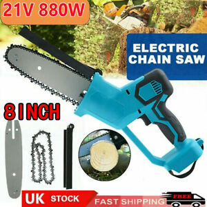 8'' Handheld Cordless Electric Chainsaw Rechargeable Small Wood Cutter Tool UK