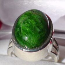 NATURAL CHROME DIOPSIDE 925 SILVER RING 49.55 ct,Fine Estate Jewelry. SIZE 7.25