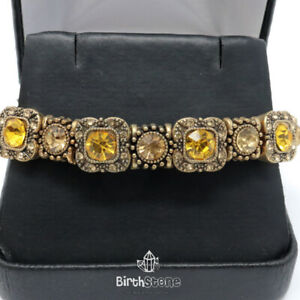 15.2Ct Turkish Vintage Yellow Citrine Clear Topaz Tennis Bracelet Jewelry Gift