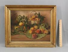 19thC Antique Signed Primitive Fruit Still Life Oil Painting of Peaches, NR