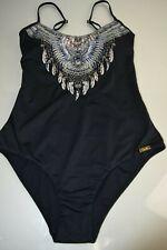NEW Camilla BLACK ROUND NECK ONE PIECE Swimsuit Blue White CRYSTALS 6 S