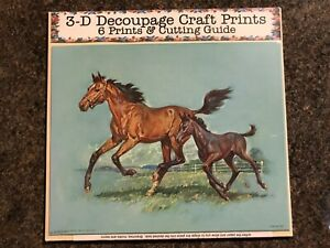 'Horse and Coltl' Set of 6 Prints and Cutting Guide for Decoupage