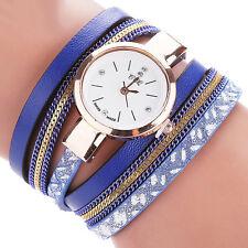 Fashion Women Crystal Stainless Steel Leather Bracelet Analog Quartz Wrist Watch