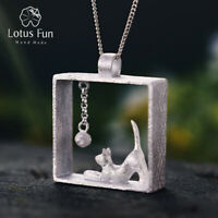 Elegant 18K Gold Cat Genuine 925 Silver Fine Jewelry Square Pendant for Women
