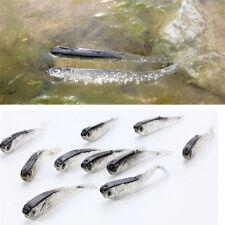 10Pcs 7.5cm Soft Silicone Minnow Tiddler Bait Fluke Fish Fishing Saltwater Lure