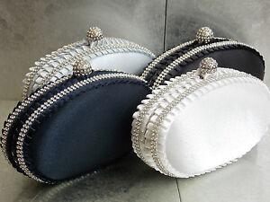 Crystal Diamante Satin Wedding Bridal Prom Clutch Purse Bag Handbag 043 UK