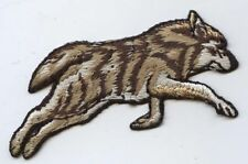 Iron-On Applique Embroidered Patch Wild Forest Brown Wolf Running 695670
