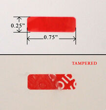 "250 Security Label Seal Sticker Red Tamper Evident VOID wii ps3 0.75"" x 0.25"""