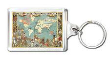 1886 VINTAGE BRITISH EMPIRE MAP OF THE WORLD KEYRING LLAVERO