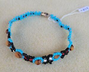 Turquoise & Black Beaded NAVAJO Bracelet GHOST Beads #04