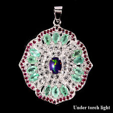 Großer Anhänger Smaragd Rubin Weißtopas Opal schwarz 925 Silber 585 Weißgold