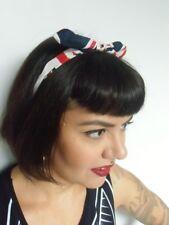 Serre tête fin semi rigide tissu drapeau anglais british coiffure rétro pin-up